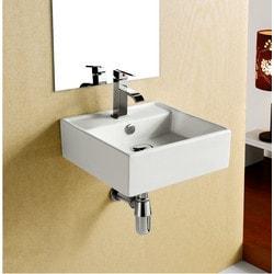 ELANTI EC9868 Porcelain White Wall Mounted 15'' Square Sink Model 151828031 Bathroom Sinks