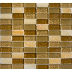 GL Stone & Tile Stacked Pattern Stone & Glass Mosaic Model 151779691 Kitchen Wall Tiles
