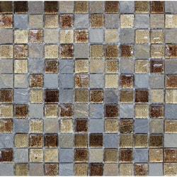 GL Stone & Tile Square Pattern Stone & Glass Mosaic Model 151779701 Kitchen Wall Tiles
