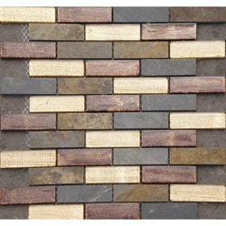 GL Stone & Tile Brick Pattern Stone & Glass Mosaic Model 151779611 Kitchen Wall Tiles