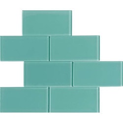 GL Stone & Tile 3 x 6 Glass Subway Tiles Model 151702121 Kitchen Glass Mosaics