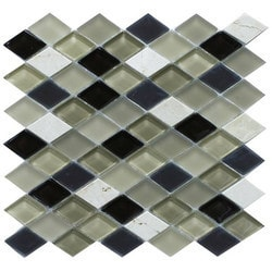 GL Stone & Tile Frosted Diamond Glass & Natural Stone Mosaic Model 151779591 Kitchen Wall Tiles