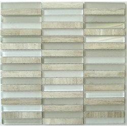 GL Stone & Tile Stacked Pattern Stone & Glass Mosaic Model 151779661 Kitchen Wall Tiles