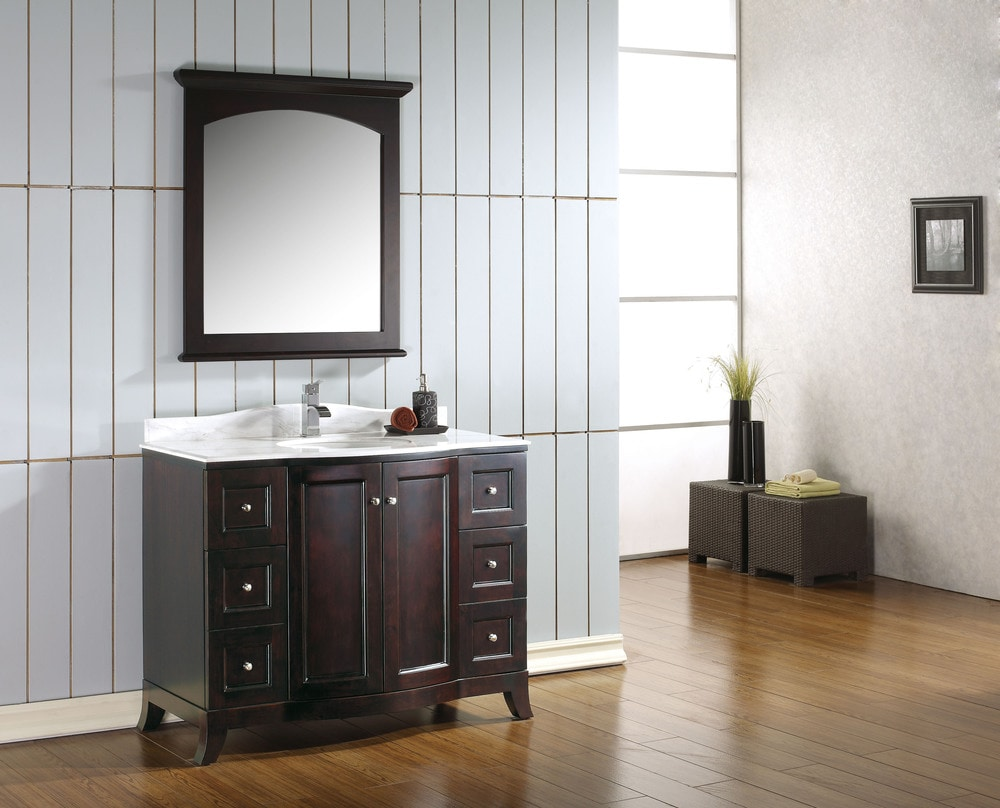 Infusion pre assembled 42 single bathroom vanity set with for Premade bathroom vanities