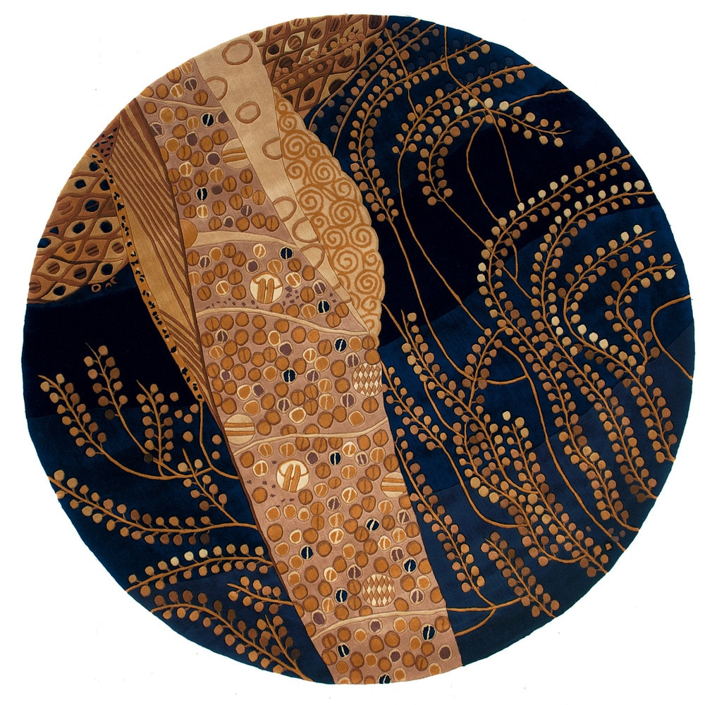 Momeni newwanw 01blu new wave collection in blue modern for Area rugs round contemporary