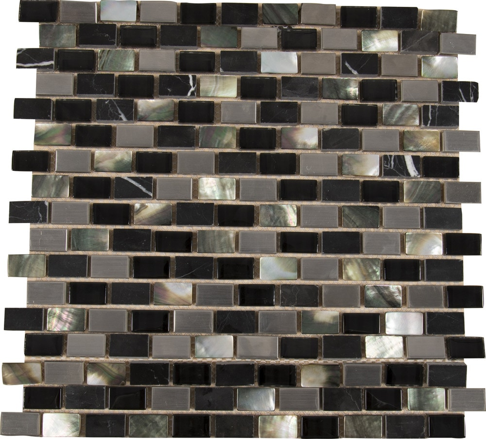 Ms International Mosaic Tile Midnight Pearl Mini Brick
