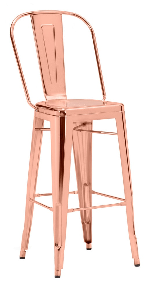 Zuo modern elio dining room bar chair 1 piece rose gold